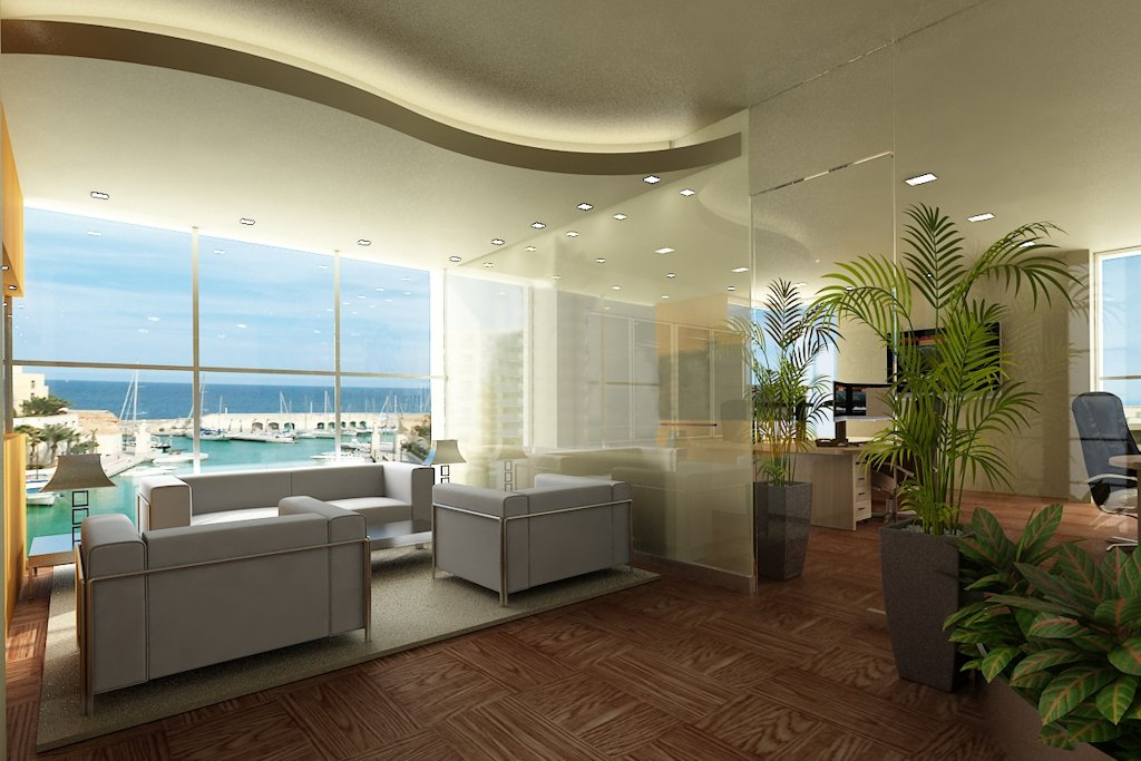 Comfortable office spaces with a view of Portomaso marina