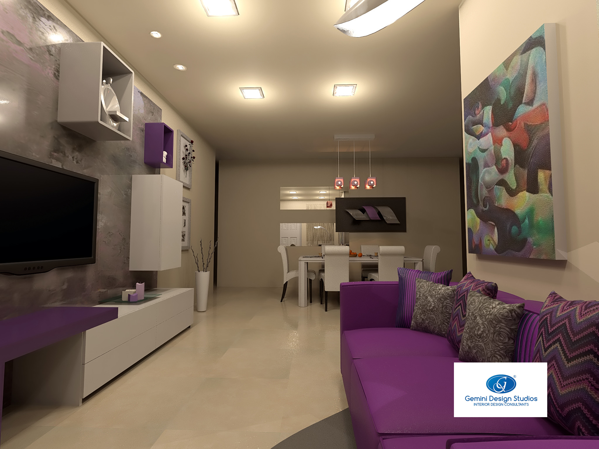 DESIGNING A LIVING ROOM WITH PURPLE TONES