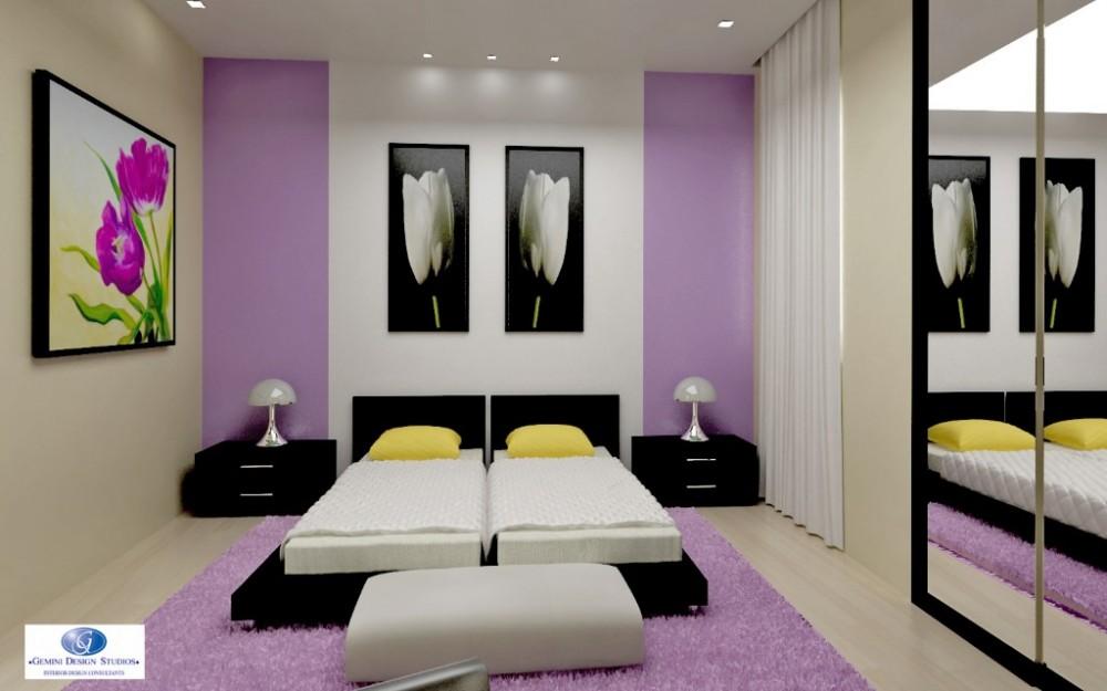 Purple bedroom interior design for Modern home decor malta